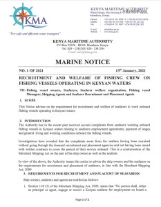 Recruitment and Welfare of fishing Crew on Fishing Vessels Operating in Kenyan Waters
