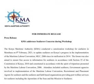 KMA addresses Seafarers Concerns during Workshop