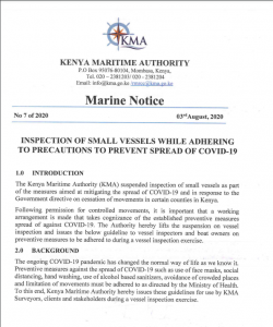 NOTICE TO MARINERS on inspection of small vessels while adhering to precautions to prevent spread of covid 19